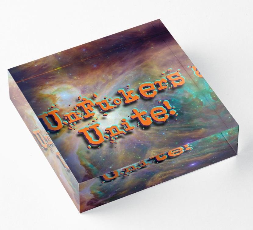 Unfuckers unite logo in acrylic